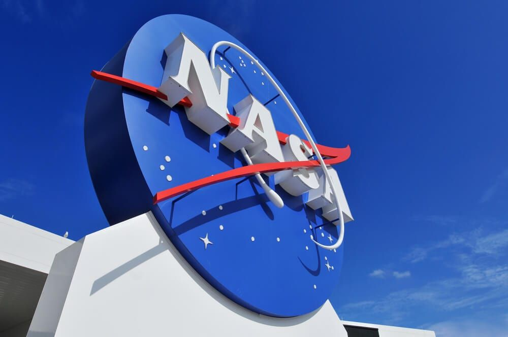 A shot of the logo of NASA outside Cape Canaveral, Florida