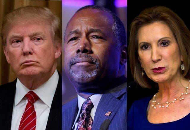 Donald Trump, Ben Carson, Carly Fiorina