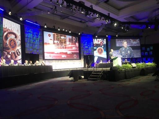 """The president of one of the largest police organizations in the United States on Monday, OCT. 17, 2016, apologized for historical mistreatment of minorities, calling it a """"dark side of our shared history"""" that must be acknowledged and overcome. Terrence Cunningham, president of the International Association of Chiefs of Police, said at the group's annual conference that police have historically been a face of oppression, enforcing laws that ensured legalized discrimination and denial of basic rights. He was not more specific. (AP Photo/Elliot Spagat)"""