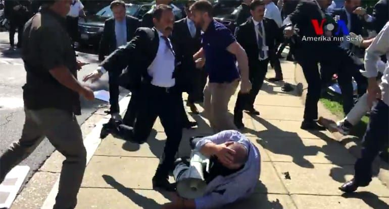 Image result for Erdogan goons kicking protesters