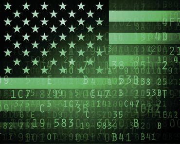 Russian hackers: American flag and binary background