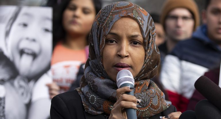Rep. Ilhan Omar (D-Minn.) speaks during a press conference