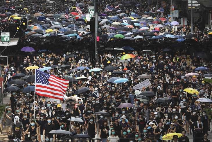 American flag Hong Kong