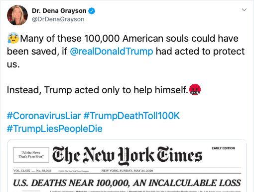 Tweet blaming Trump for coronavirus deaths