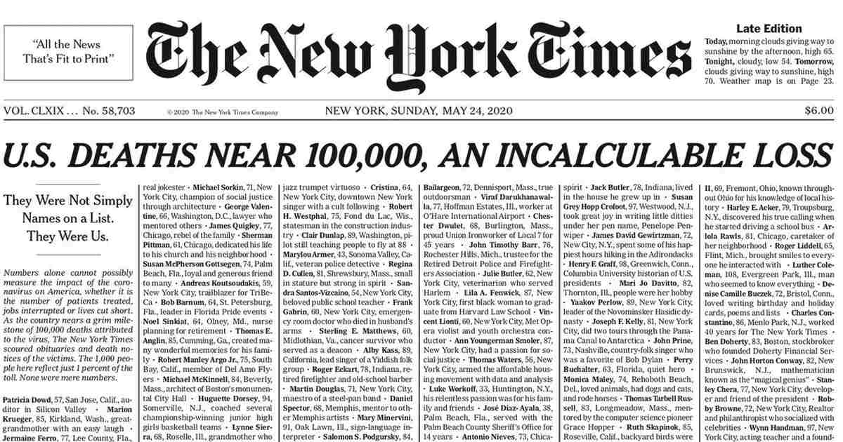 New York Times Fills Front Page With 1,000 Names of Coronavirus Dead