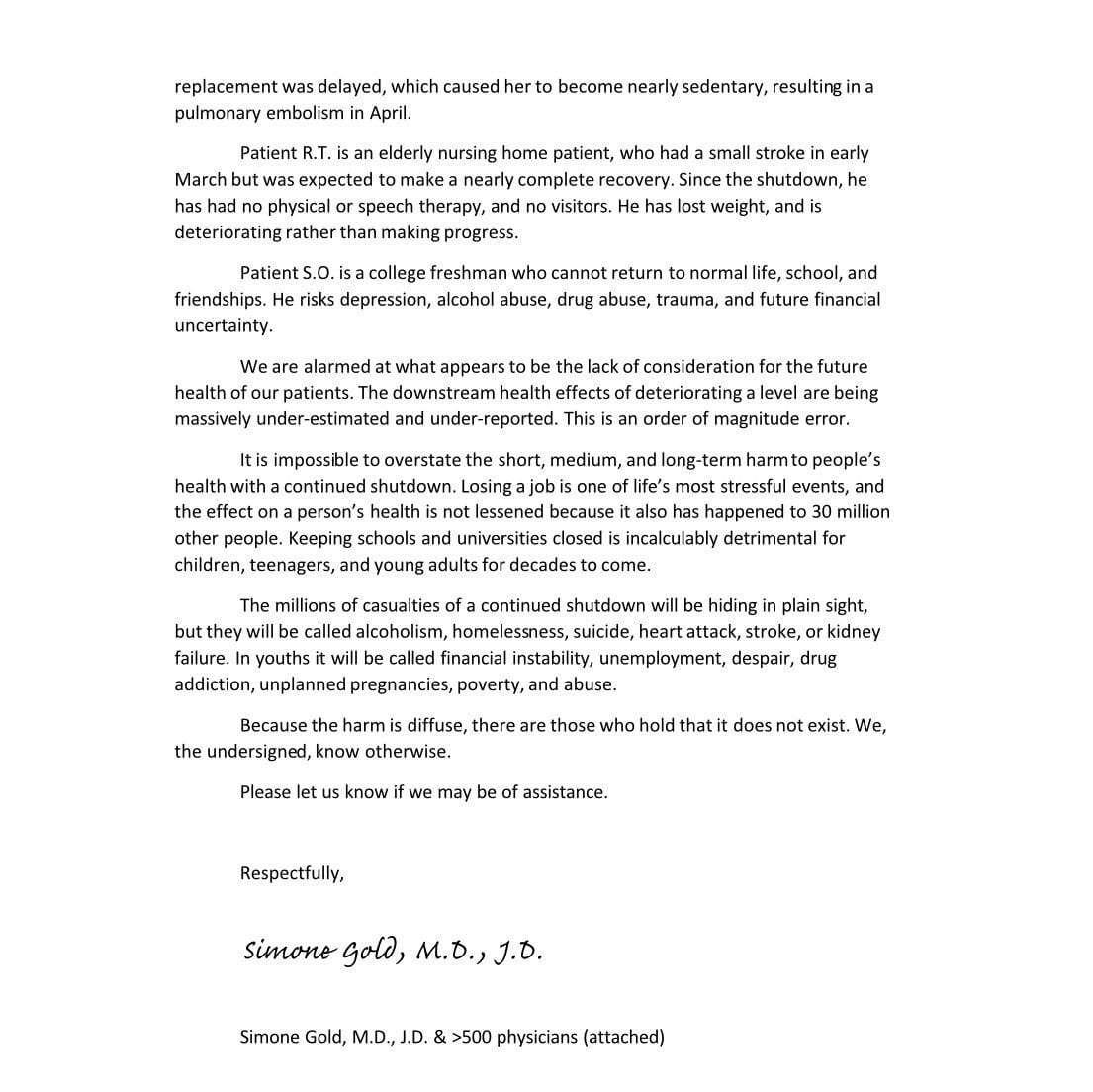 Letter warning dangers of lockdown