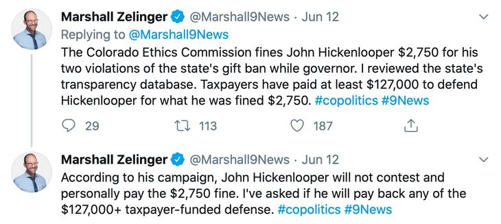 Hickenlooper Ethics Fine