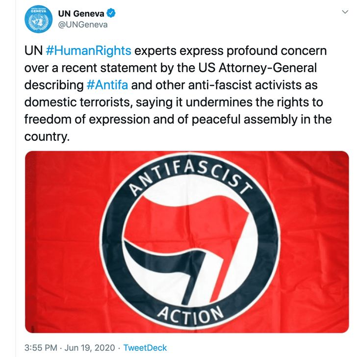 United Nations UN Antifa tweet