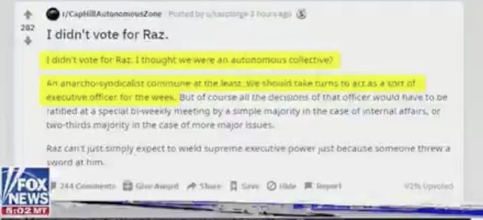 Chaz didn't vote for Raz