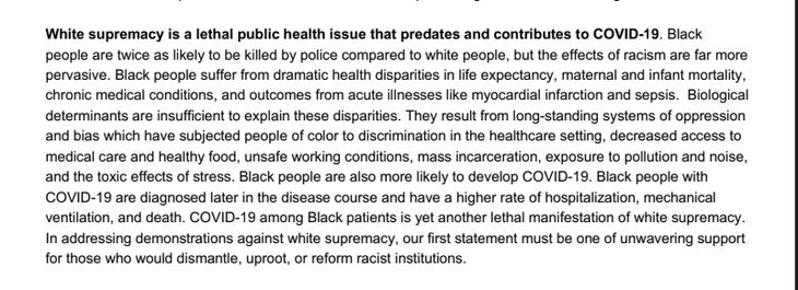 Public health experts' letter on COVID-19 and riots