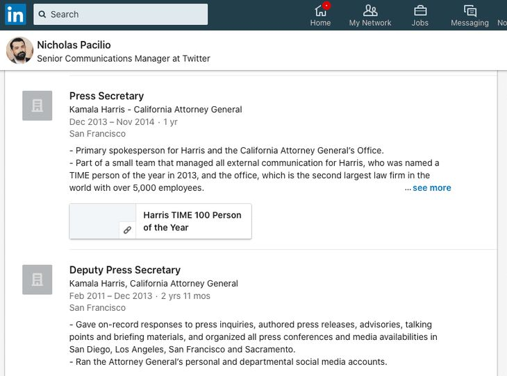 Former Kamala Harris press secretary now at Twitter