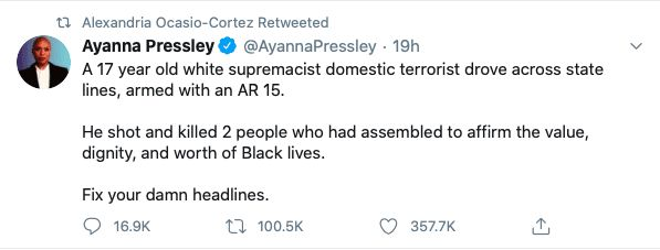 """AOC likes Ayanna Pressley tweet calling Kyle Rittenhouse a """"white supremacist"""""""
