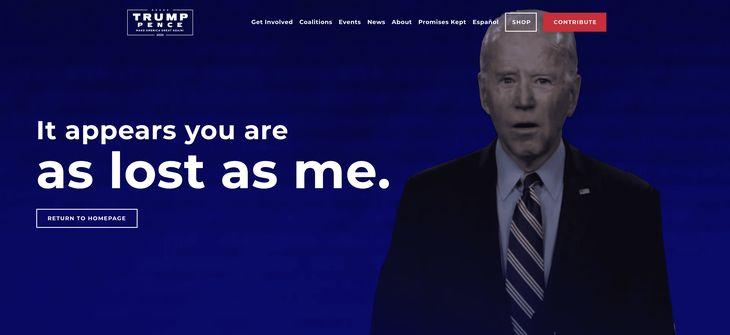 Trump campaign 404 Biden