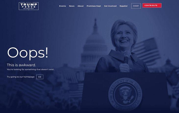 Donald Trump website Hillary Clinton Oops!