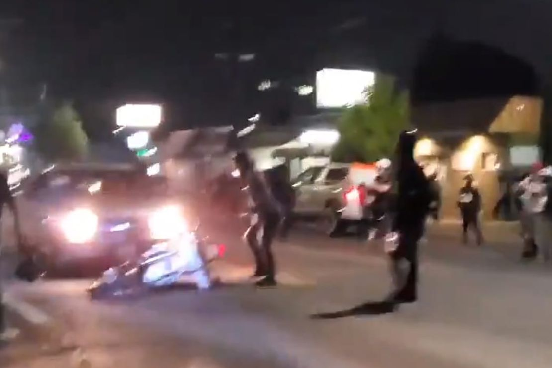 [VIDEO] Watch a Pickup Driver Dispense Street Justice to a Rioter's Bike