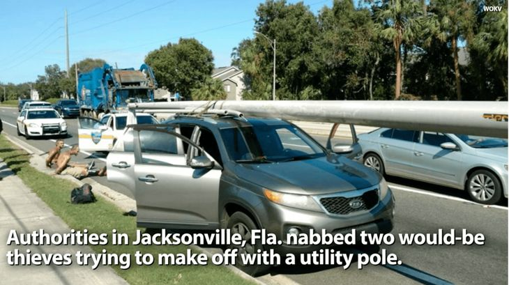 Florida Man Steals Utlity Pole