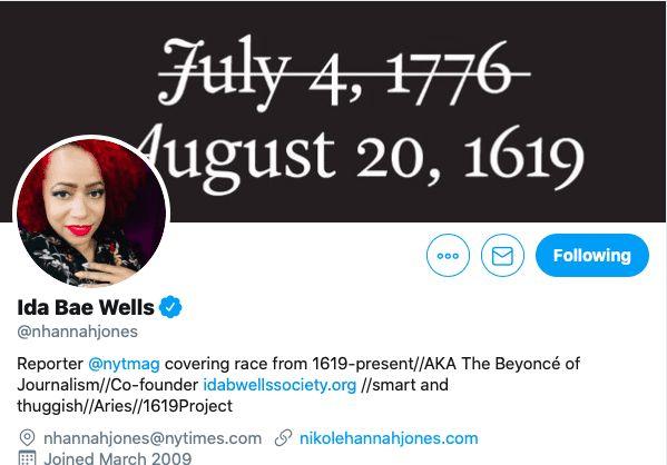 Nikole Hannah-Jones Twitter 1619 Project