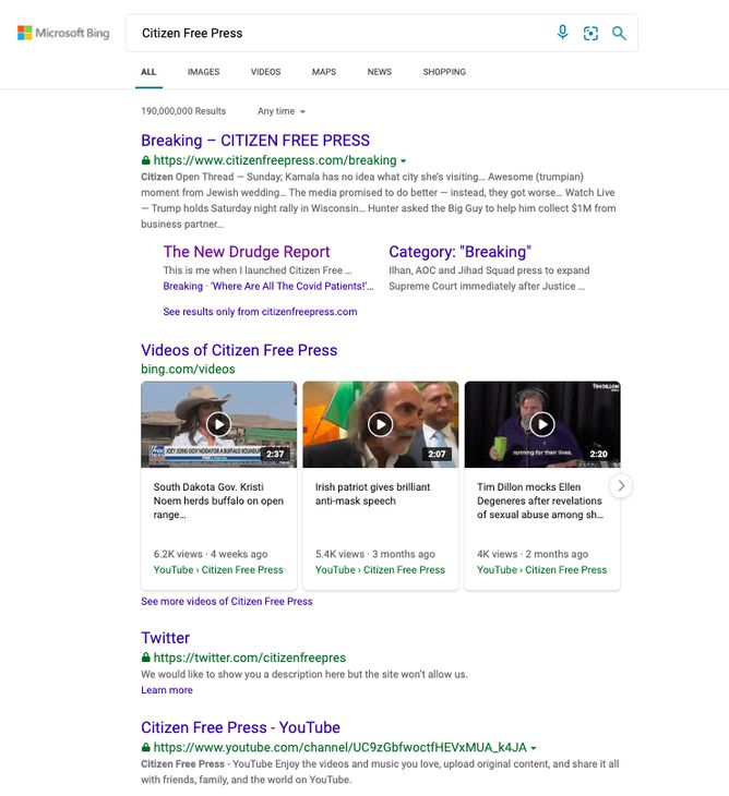 Citizen Free Press Bing search