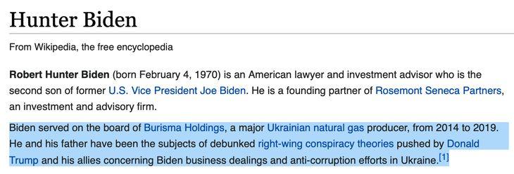 Wikipedia Lies about Hunter Biden