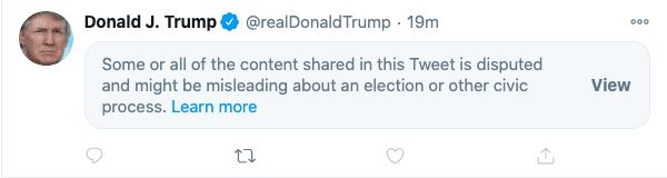 Trump tweet censored by Twitter