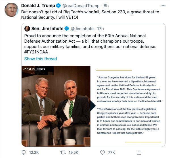 Trump veto Section 230