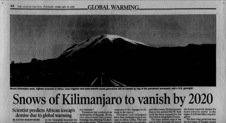 Climate alarmist prediction 2020 Kilimanjaro