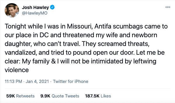 Josh Hawley: Antifa mob harassed my wife and daughter