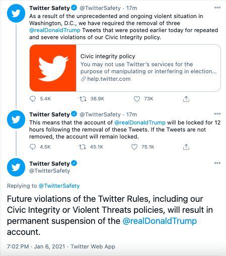 Twitter screenshot of Twitter locking Trump account
