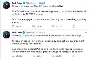 Ted Cruz Capitol Riot tweets