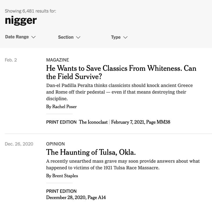 Insanity Wrap NYT Search for N-Word