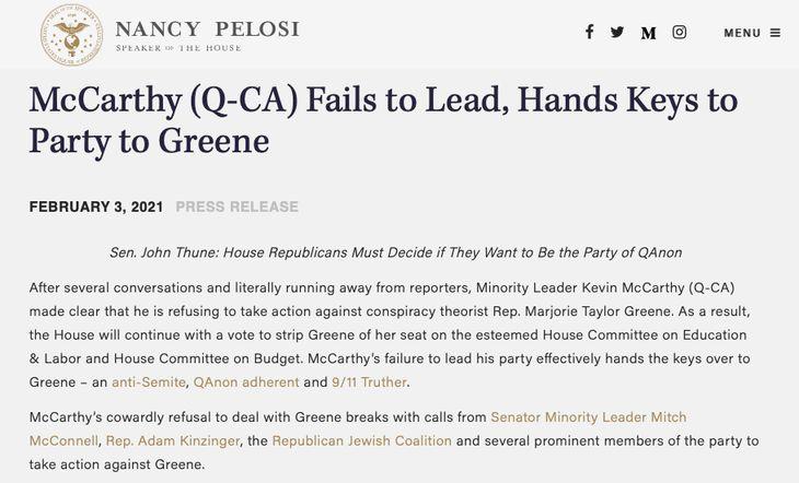 Pelosi Greene McCarthy