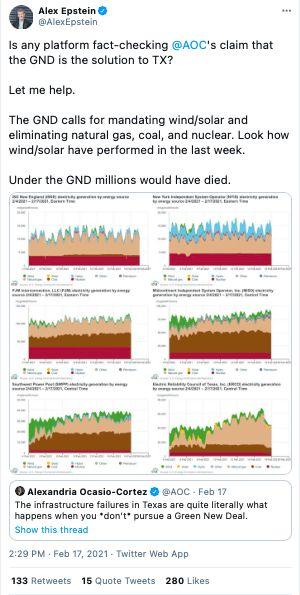 AOC Green New Deal Texas blackouts