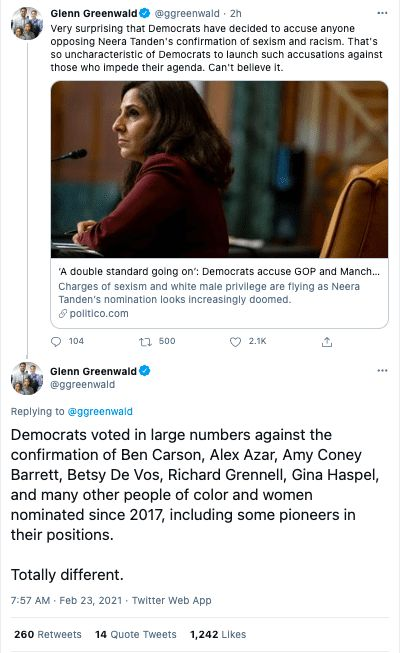 Neera Tanden Glenn Greenwald racism sexism