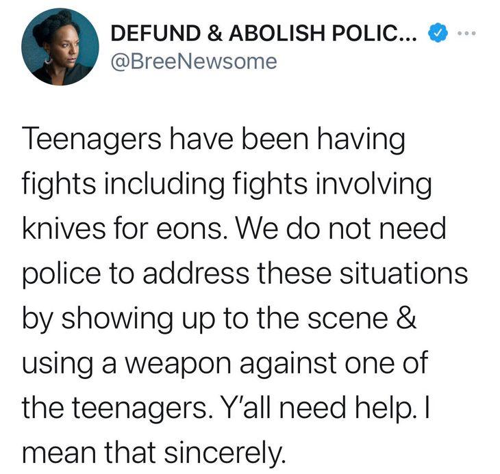 Bree Newsome teenagers knives