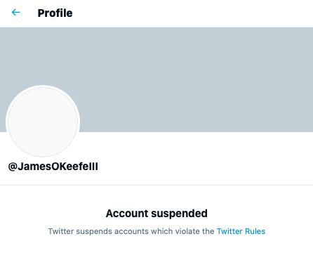 Twitter suspends James O'Keefe Project Veritas