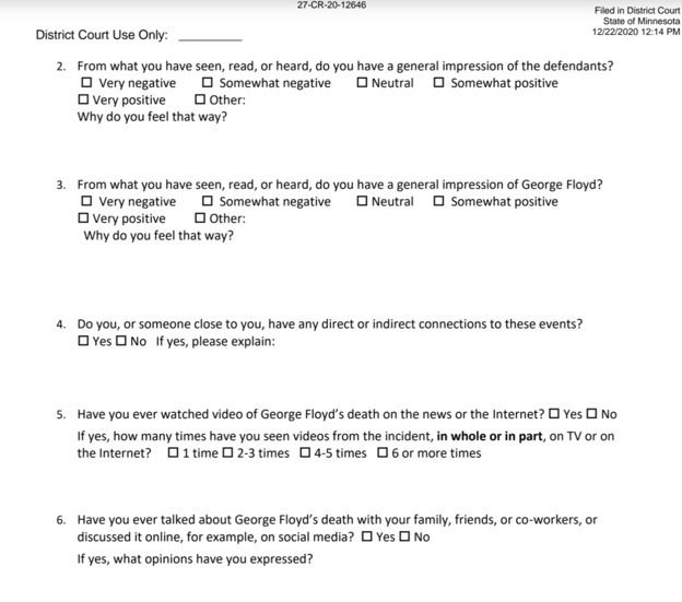 Chauvin trail juror jury questionnaire