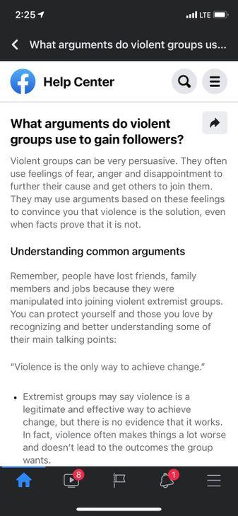 Facebook extremism