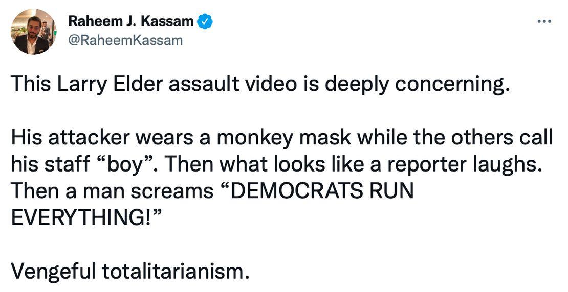 Raheem Kassam Tweet Elder Egg Attack